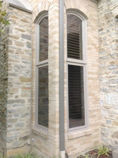 The Sandtone Exterior On These Casement Windows Helps Them Compliment The Stone Look Of The House Casement Windows Window Styles Casement