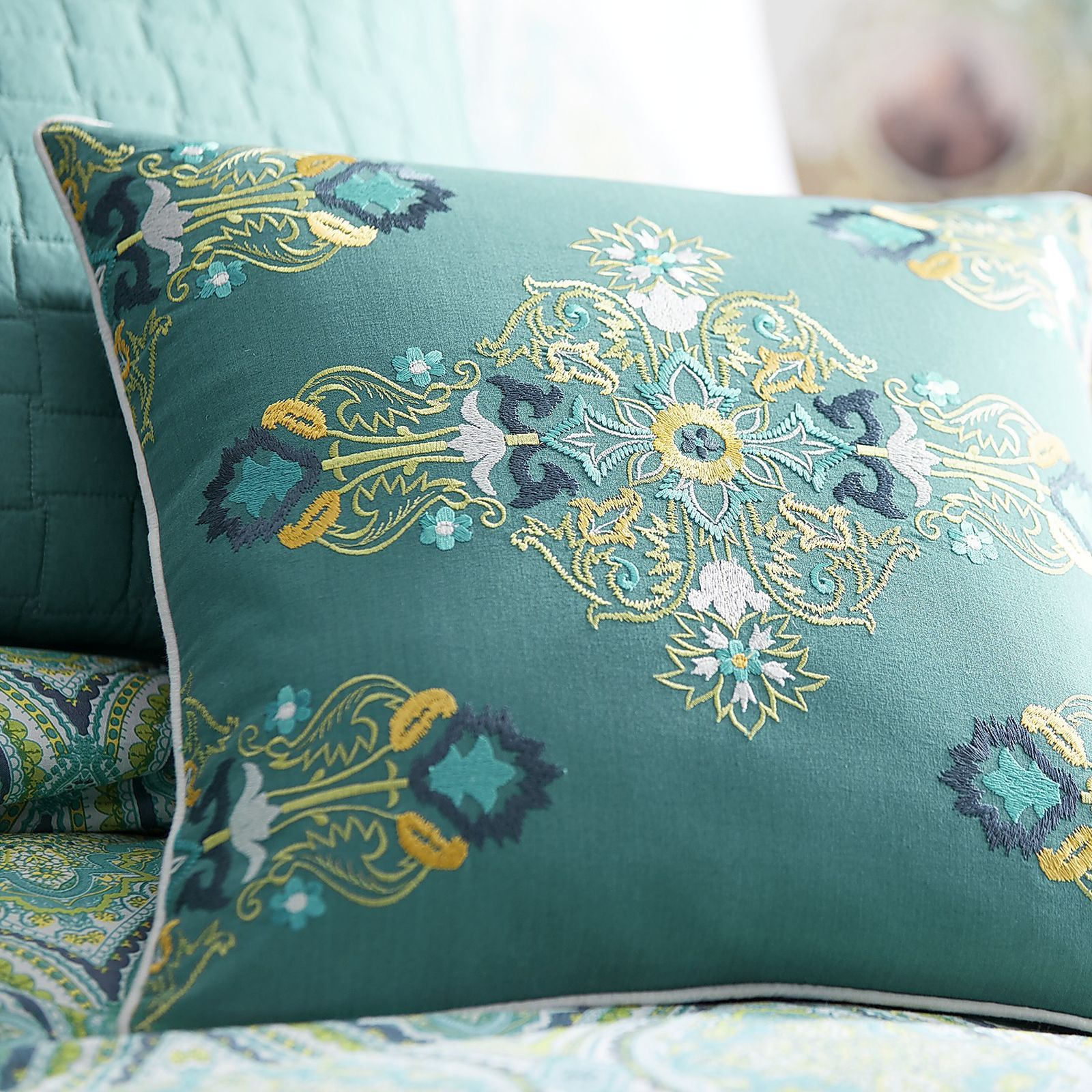 The distinct beauty of Mediterranean tiles can greet you each night when you decorate your bed with our Capri Tile bedding. Crisp cotton coordinates boast an intricate tile-look print of turquoise, blue and yellow. To accent the striking print, add a solid-color throw or some decorative pillows.
