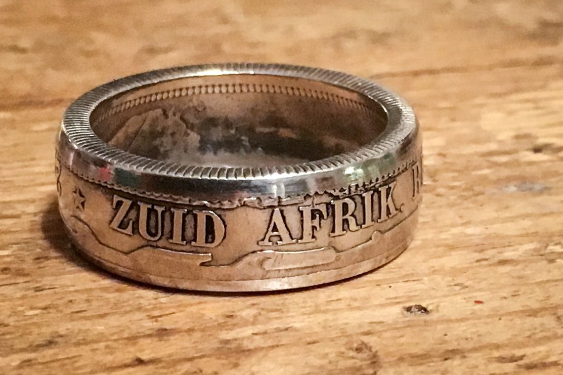 I picked up a sterling silver Zuid Afrik. Repub. (South African Republic) 2 Shillings coin and folded it into a cool coin ring.