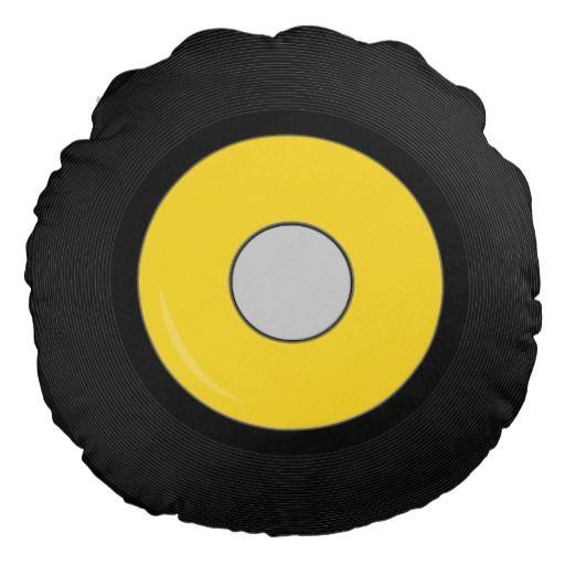 Yellow Retro Vinyl Record Disk Round Pillow   Zazzle.com