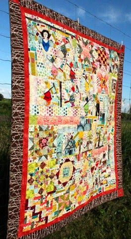 I quilted this for Kim at Persimon Dreams: Once Upon a Time… #Quilt -- Very Whimsical with traditional quilting mixed together.