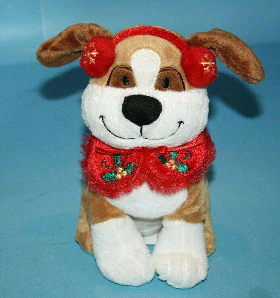 "Walmart Stuffed Animal Xmas DOG 7"" Ear Muffs Warmers Holly"