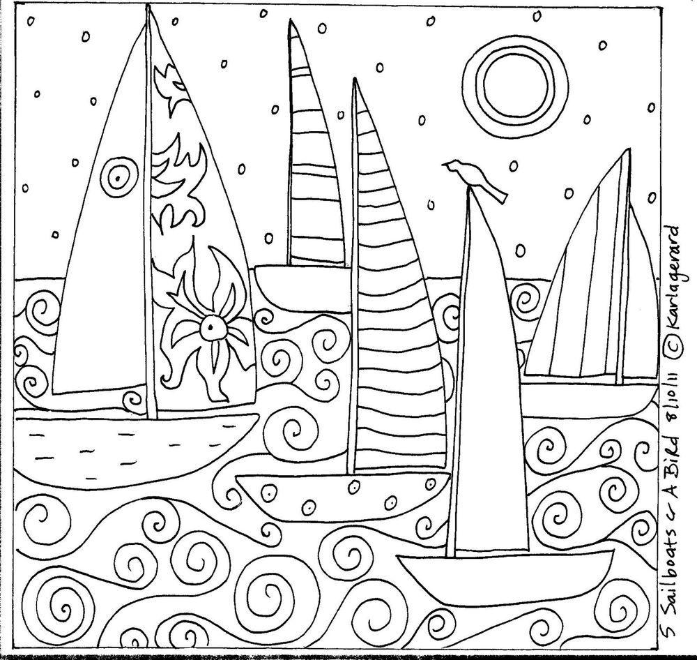 Rug Hook Paper Pattern 5 SAILBOATS /& A BIRD Folk Art Abstract Primitive KARLA G