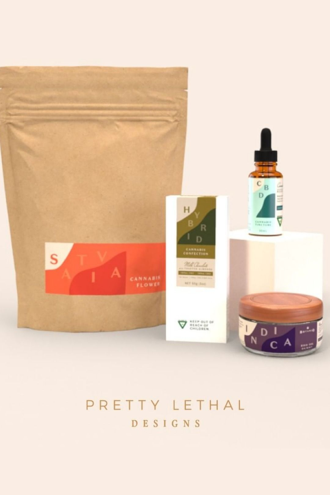 Packaging range for Sativa, Hybrid and Indica strains with