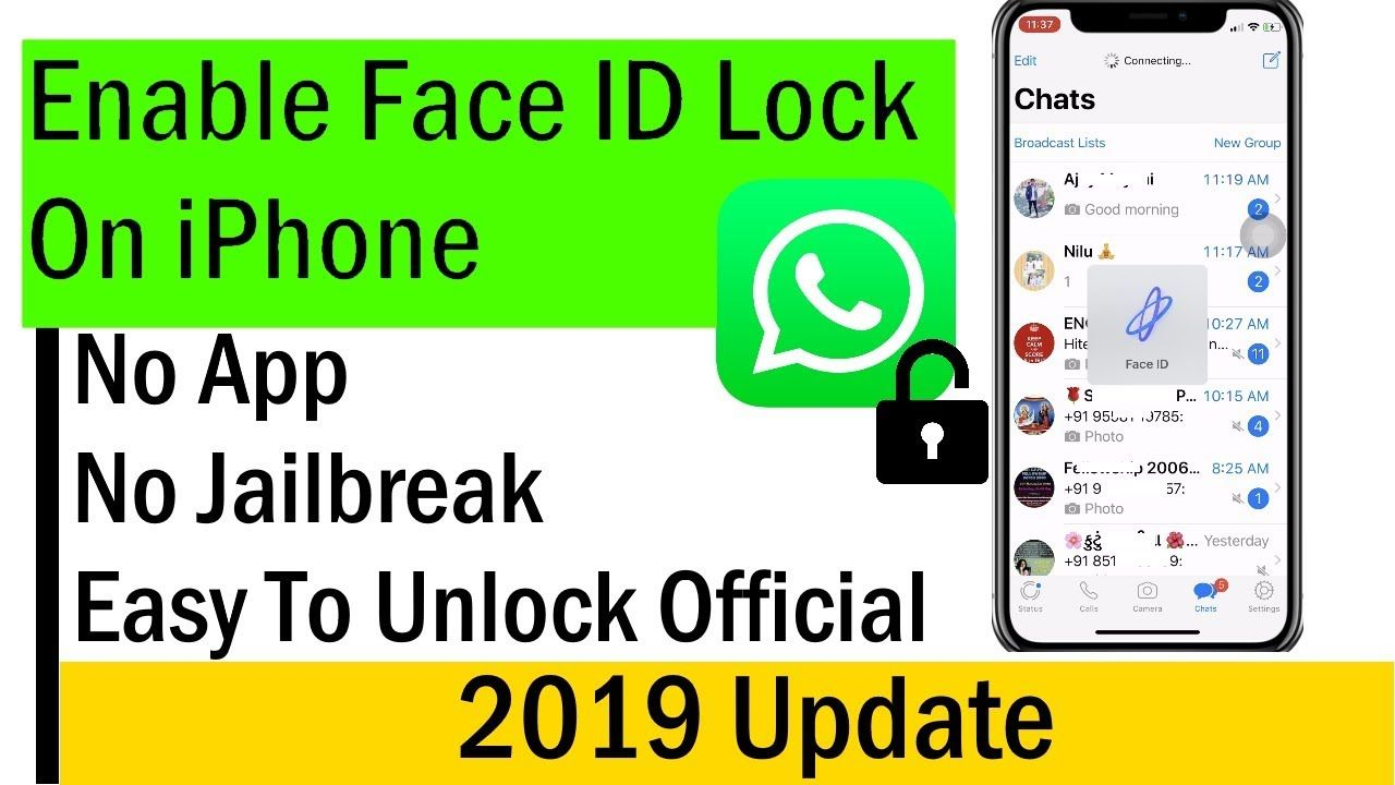 No App How To Lock Whatsapp On Iphone Using Face Id 2019 On Iphone X Face Id Iphone Face