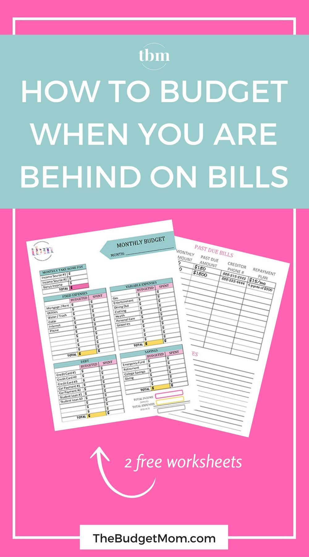 How to Budget When You Are Behind on Bills | Step guide, Worksheets ...
