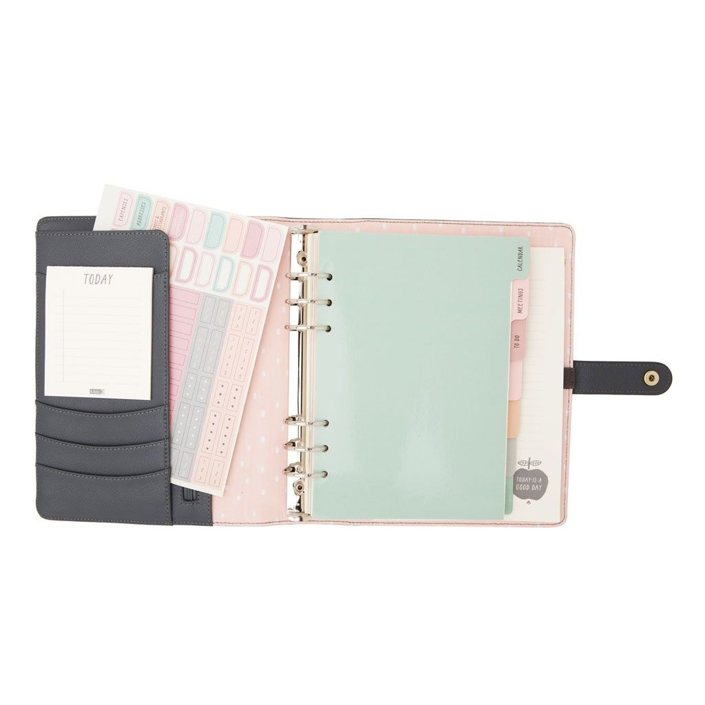 in delicious grey leather this stylish personal planner will brighten up winter days and ensure