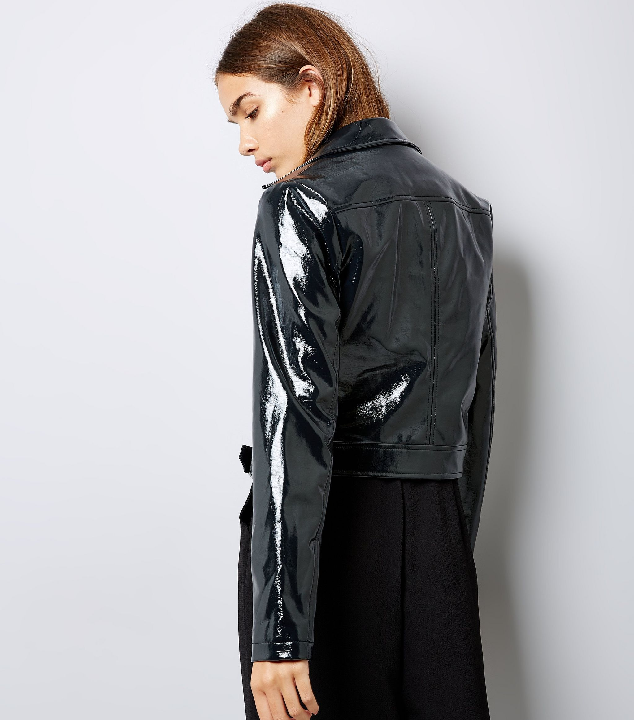Black Patent Biker Jacket New Look Vinyl Clothing Pvc Outfits Fashion [ 2323 x 2048 Pixel ]