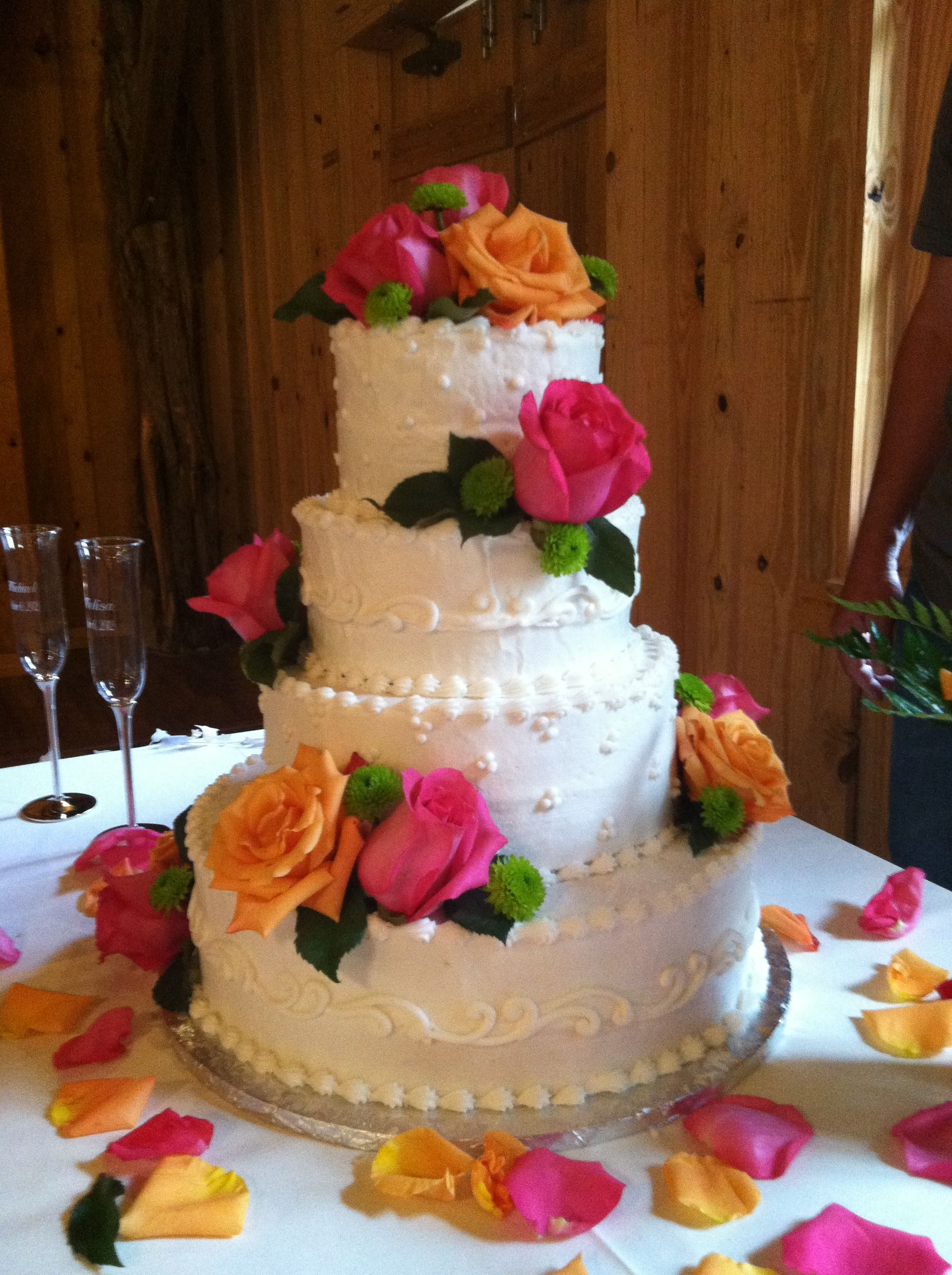 Stop Smell The Roses Bridal Cake