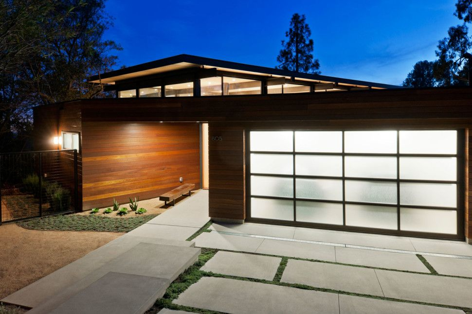 Garage In Front Of House Design Part - 30: Front Yard Garage Rustic House Lighting Ideas With Modern Exterior Tile For