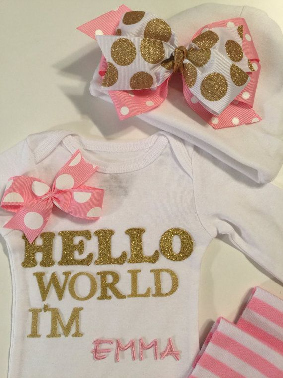 NEWBORN Baby outfit Hello World onesie set by MelleeAndMeBows ... 375c00d14907