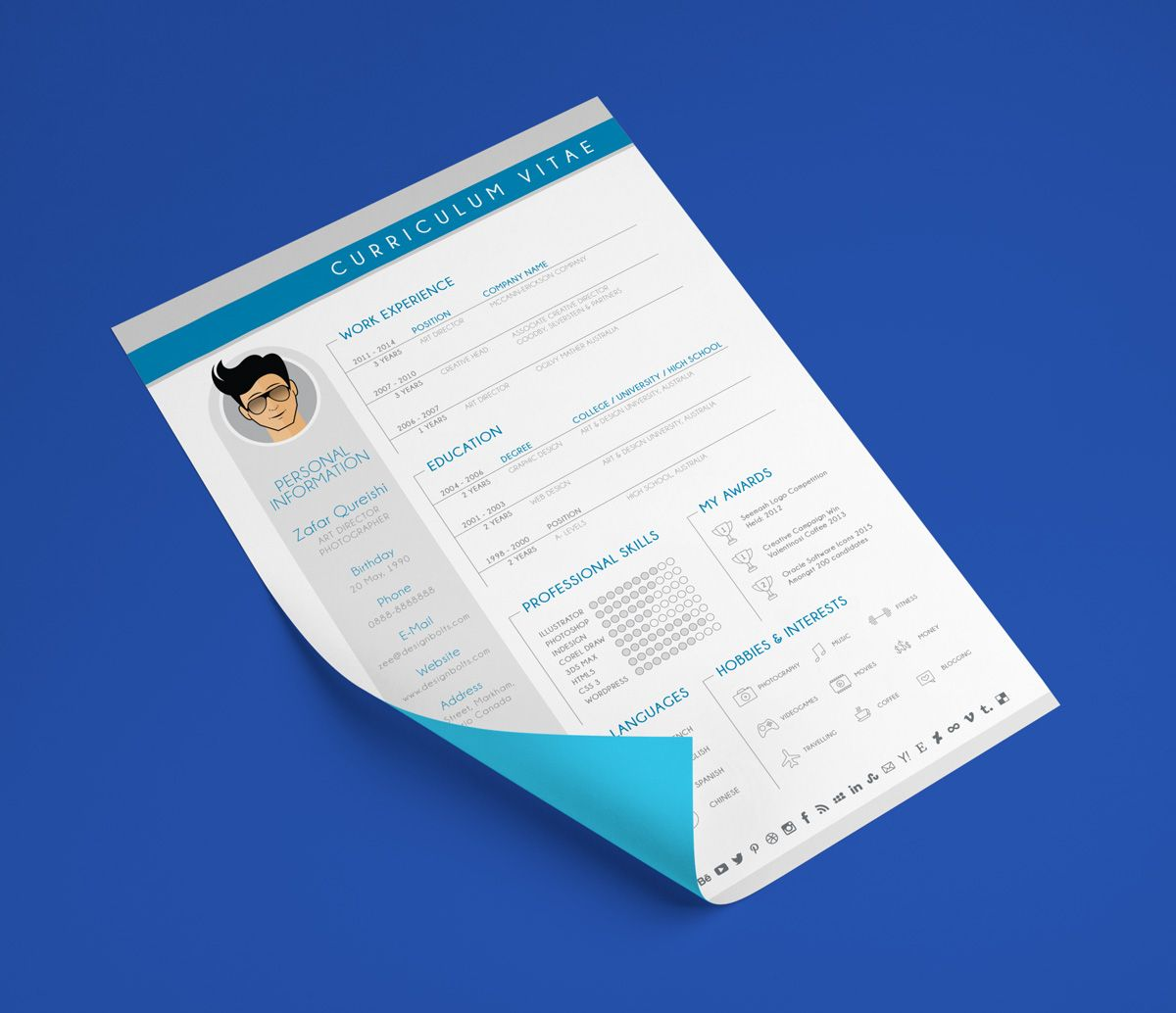 Free resume cv template for graphic designer with