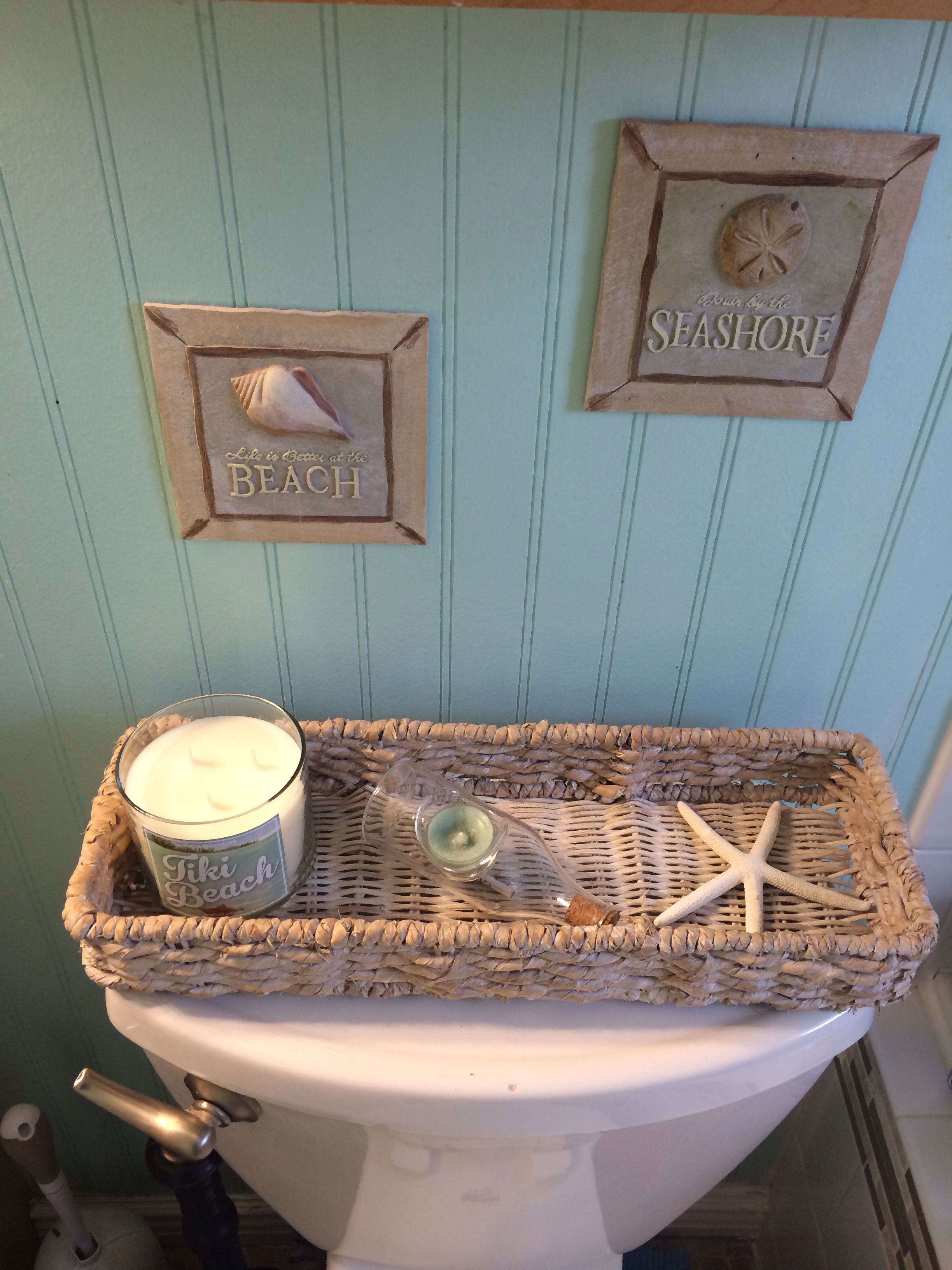 Nice And Different For The Top Of The Toilet Tank Toilet Tank Beach House Decor Bathroom Decor
