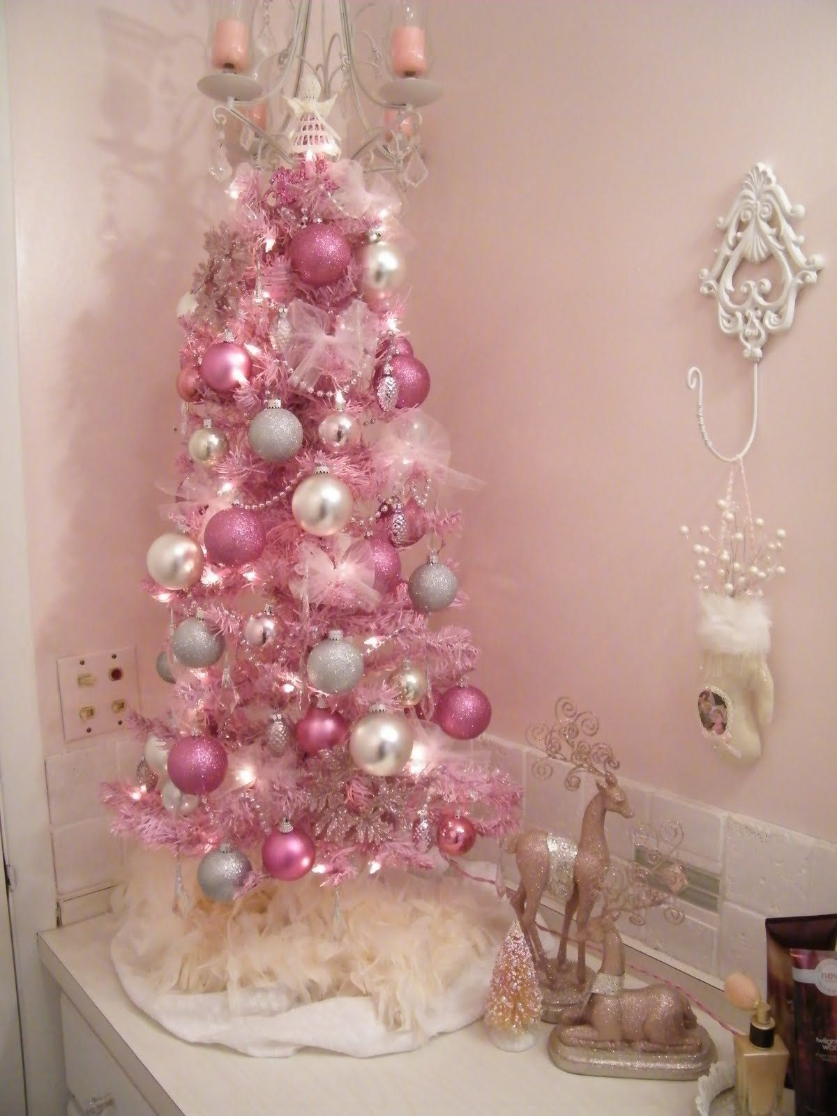 awesome girly christmas bathroom decorations with enchanting small table christmas trees decorating ideas with white ruffle skirt and beauti - Pink Brown Bathroom Decorating Ideas