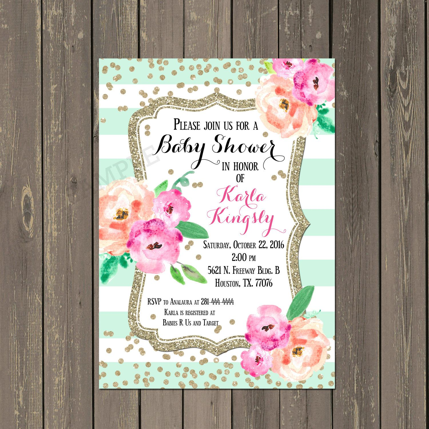 Mint Baby Shower Invitation, Mint Striped Floral Baby Shower Invite ...