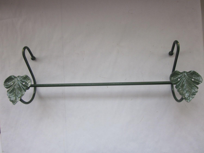 "Green Enamelled Towel Rod, Ivy Design, 18 3/4"" Long by antiquesplusmore on Etsy"