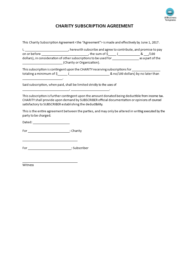 Charity Subscription Agreement  Agreement To Subscribe To A
