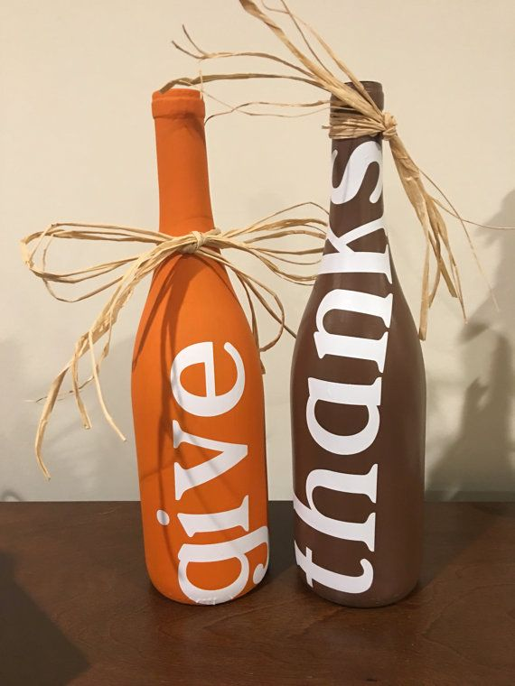 Give Thanks Wine Bottle Set of 2 by birdsNmore on Etsy