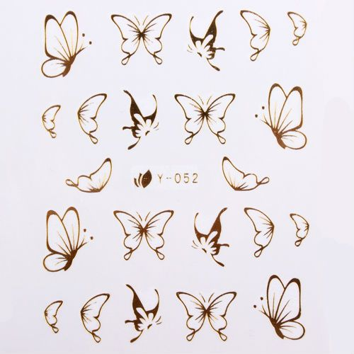 102 Styles Gold Metal Butterfly Bow Heart Nail Art Wraps Diy Decoration For Nails Free Ship Simple Butterfly Tattoo Butterfly Nail Art Butterfly Tattoo Designs