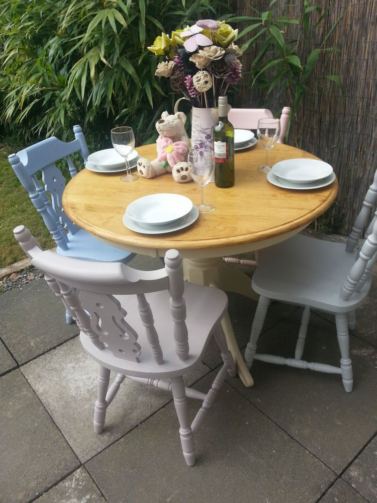 Shabby Chic Farmhouse Solid Pine Round Table Mismatch Chairs - Solid pine round dining table