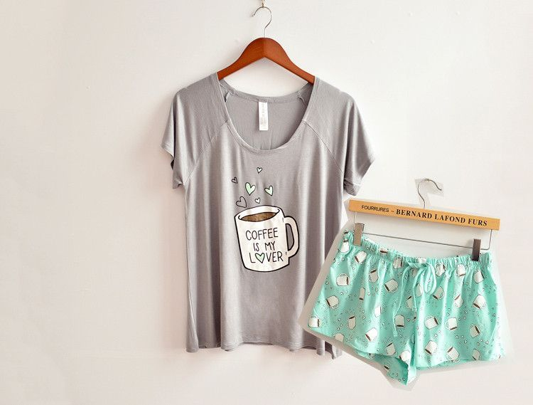 305acd6d9c9d Cute pajamas sets with white and pink color coffee cups printed hot selling