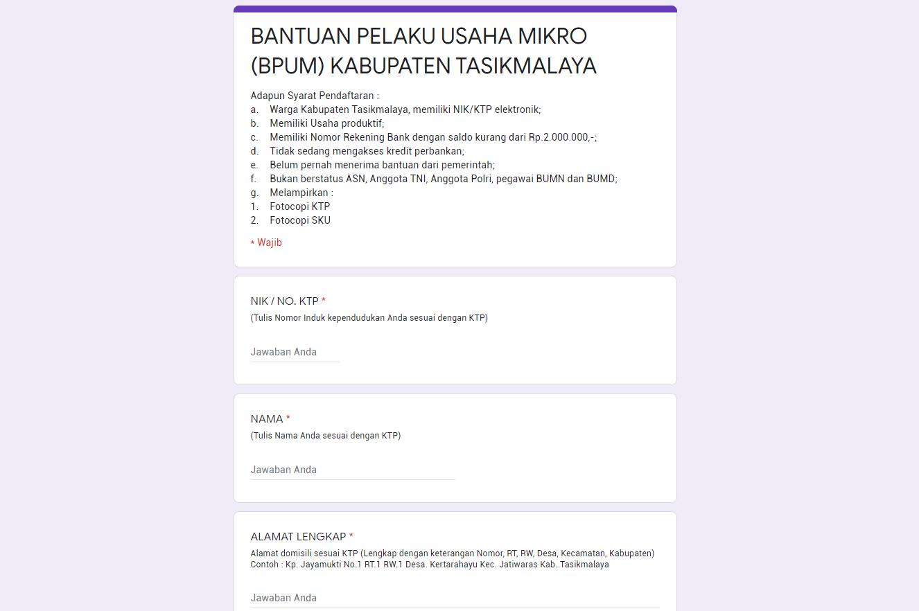 Klik Bit Ly Bpumkabtasikmalaya Untuk Daftar Blt Umkm Tasikmalaya Pemerintah Perbankan Elektronik