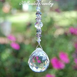 Rearview Mirror Crystal Car Charm Beaded Sun Catcher Light Pull