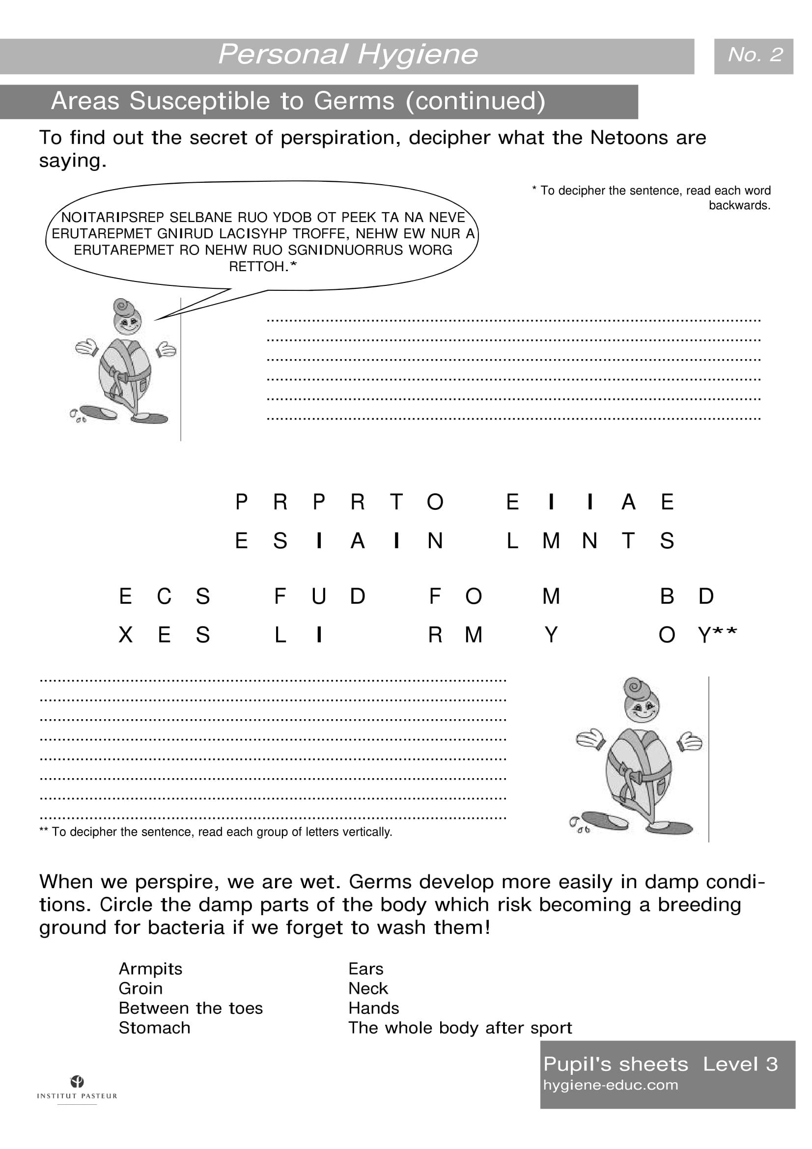 Personal Hygiene Worksheets Level 3 Areas Susceptible To Germs