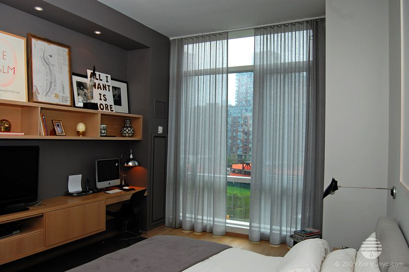 Automated Sheer Curtains In Bedroom 200 Chambers Street Nyc