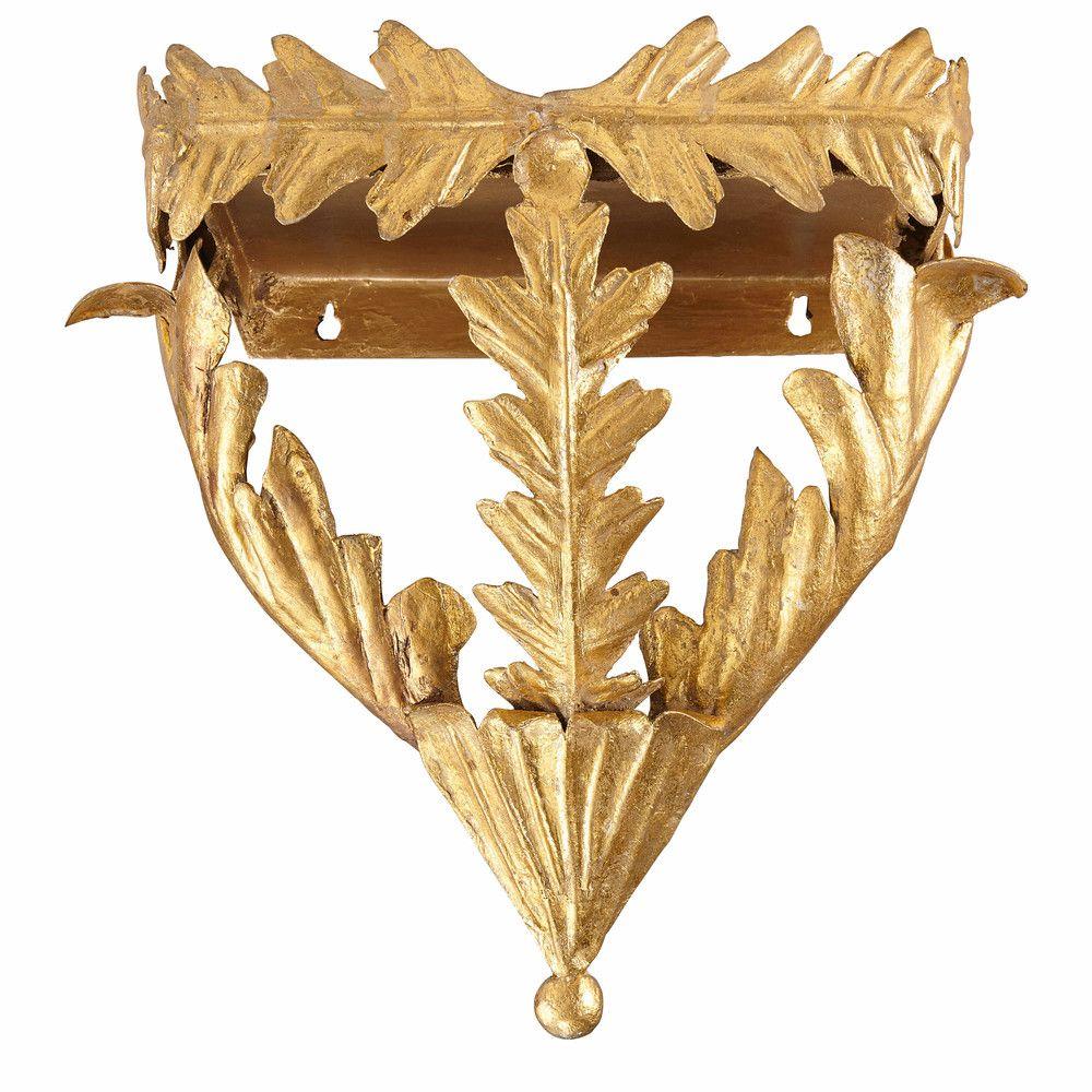 Sellette en métal doré effet vieilli H.38cm   Maisons du Monde   New ...