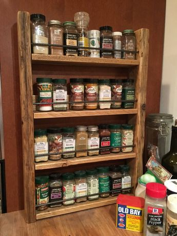 Wood Spice Rack For Wall Spice Rack  Storage For Spices  Rustic Wood  Kitchen Storage