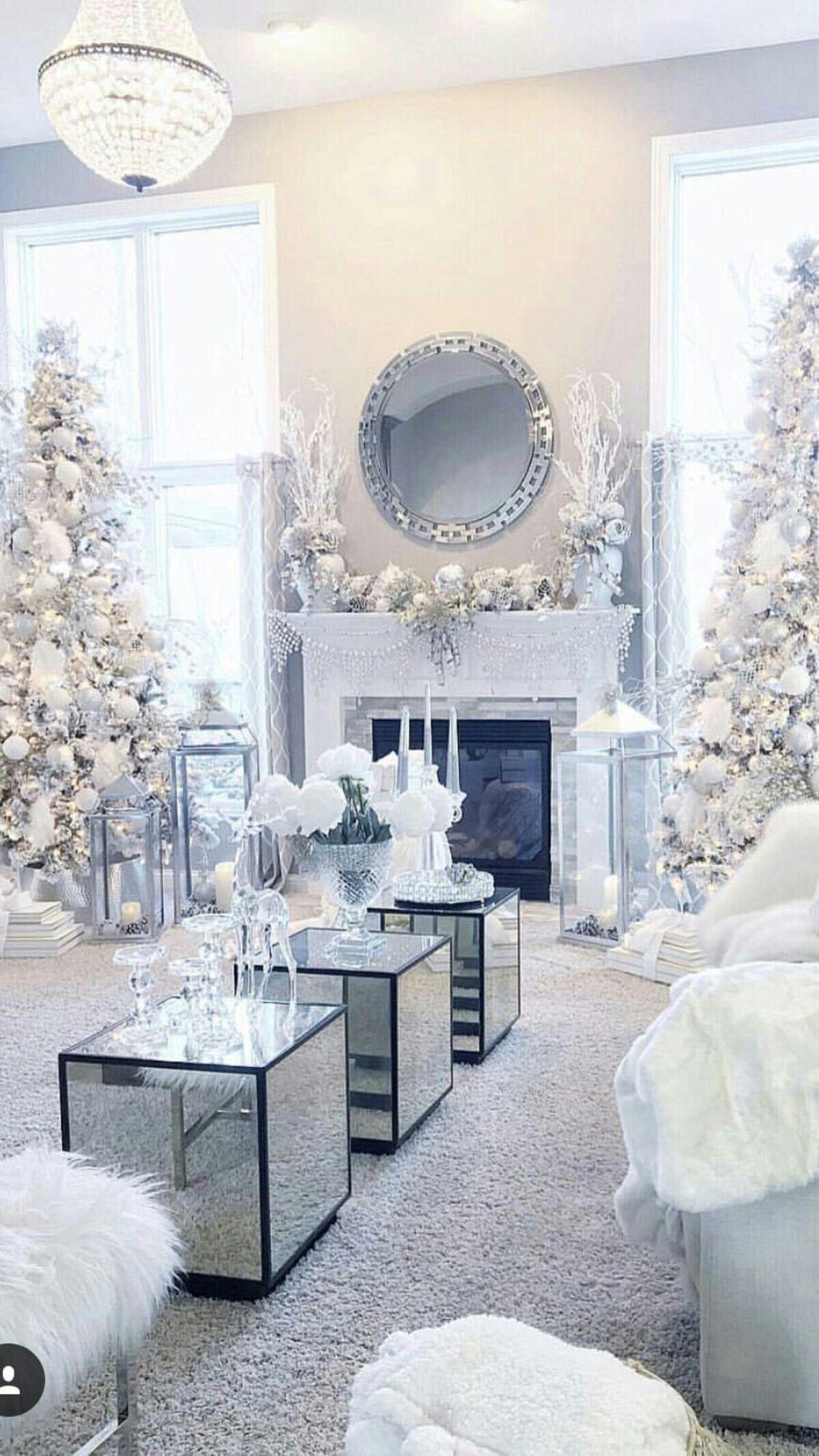 Love The Simplicity White Christmas Decor Christmas Living Rooms Christmas Room Elegant christmas living room