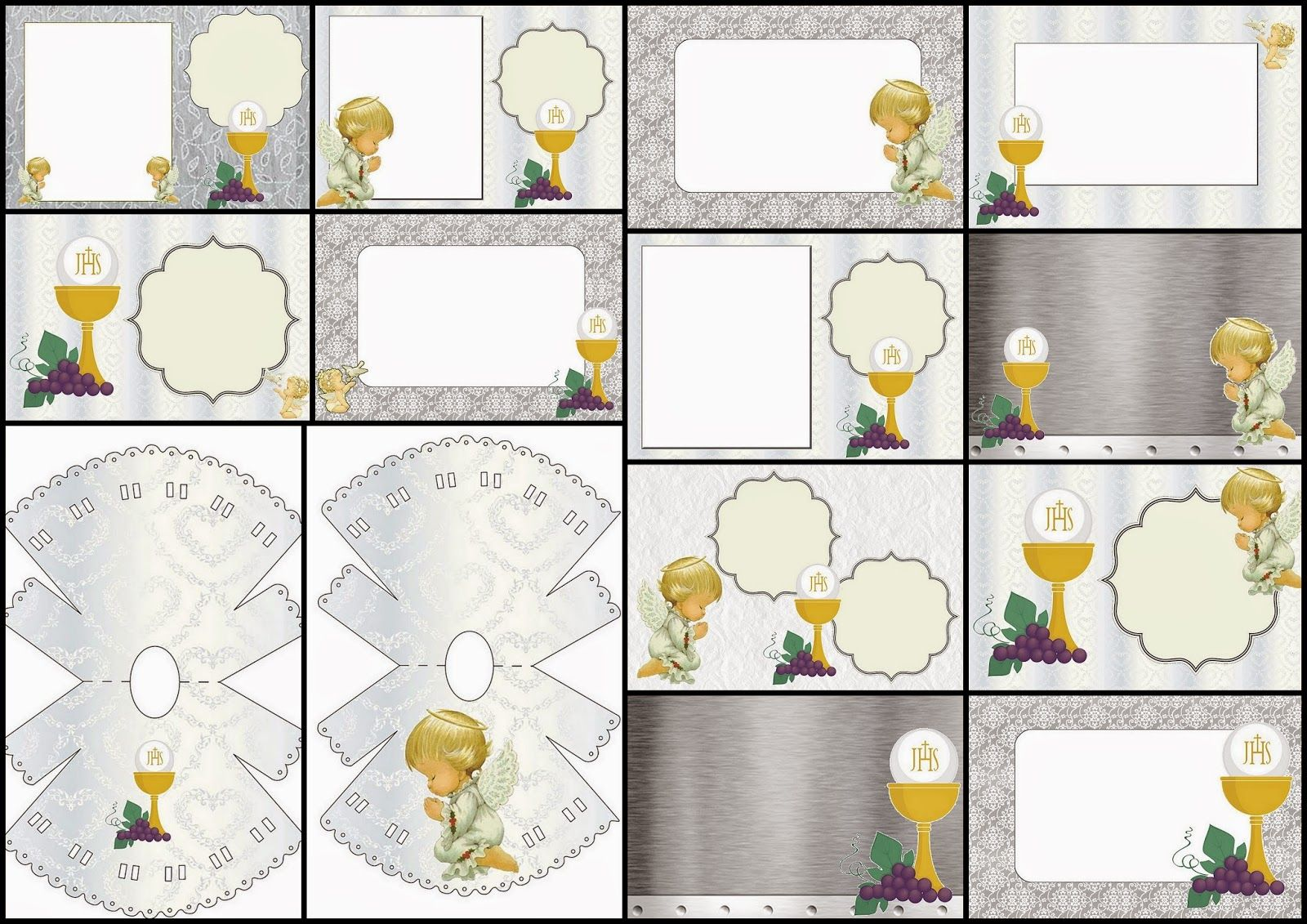 First Communion Free Printable Invitations In Silver With Precious Moments Angels