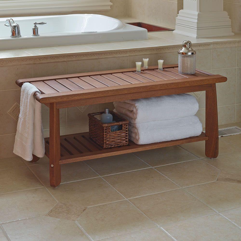 The Brazilian Eucalyptus Bathroom Bench Hammacher