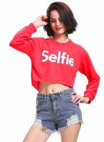 Red Selfie Print Crop Sweatshirt www.sheadline.com http://www.sheadline.com/tops.html http://www.sheadline.com/tops/sweatshirts.html