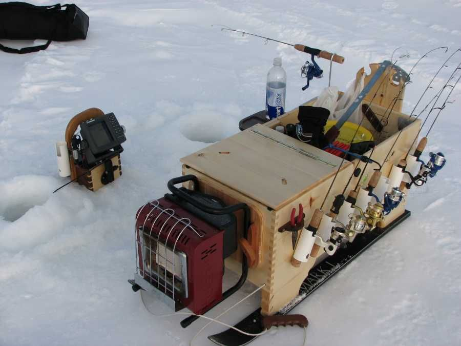 Ice fishing sled plans google search ice fishing for Ice fishing tackle box