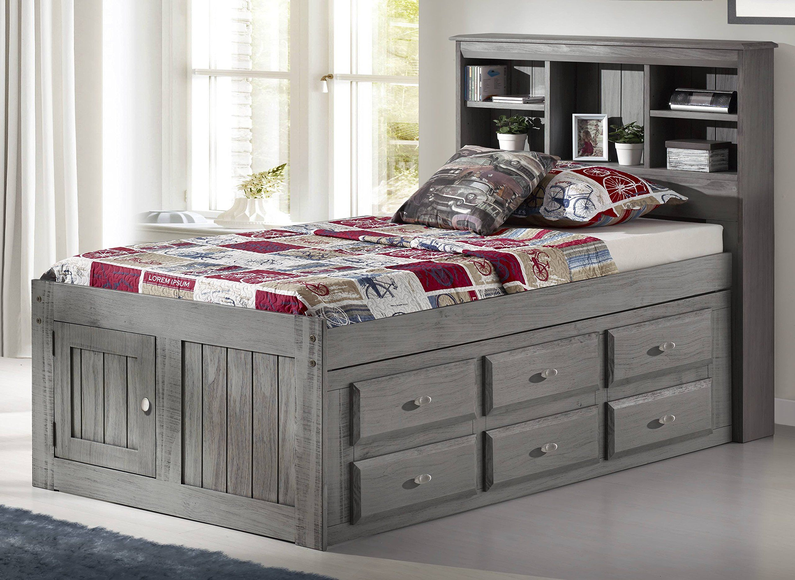 Discovery World Furniture Twin Captains Bed Bookcase With 6 Drawers And Entertainment Dresser In Charcoal Fin In 2020 Furniture Bedroom Sets For Sale Twin Bedroom Sets