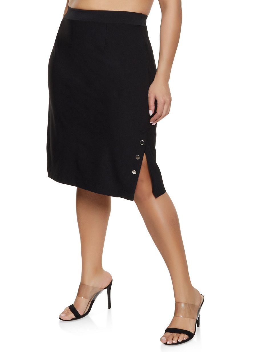 e3ce6095d15209 Plus Size Button Detail Side Slit Skirt in 2019 | Products | Skirts ...