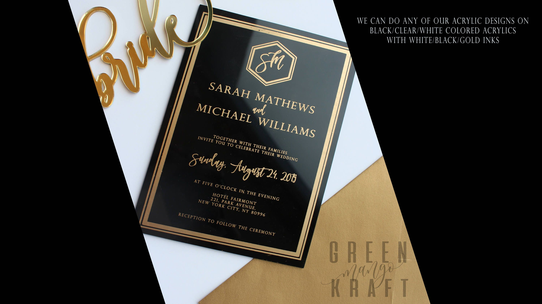 BLACK Acrylic WEDDING INVITATION gold black luxury modern