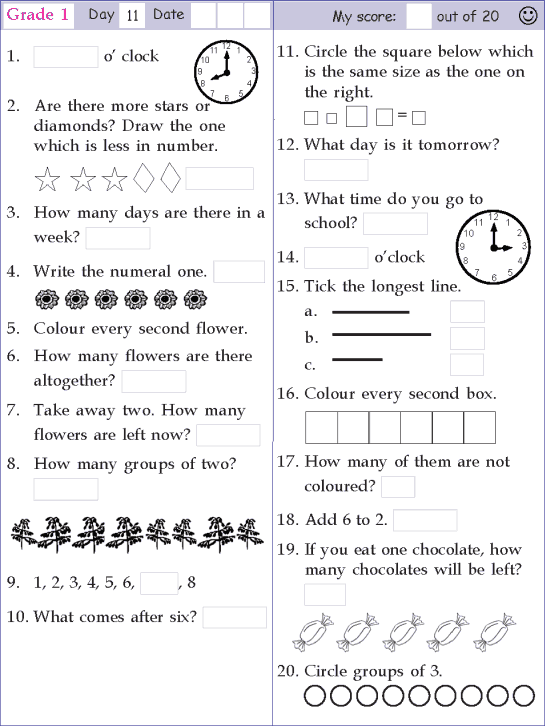 Mental Math Grade 1 Day 11 Mental Maths Worksheets 1st Grade Math Worksheets Mental Math