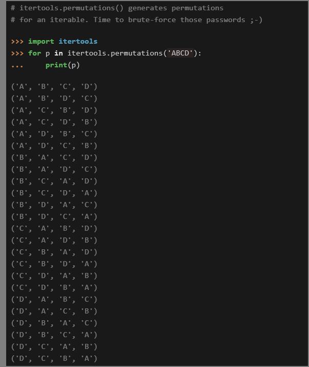 itertools permutations() | Credit: RealPython | Python in 2019