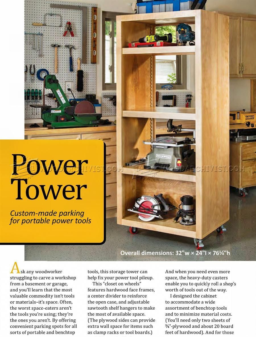 Diy Power Tool Storage Tower Woodarchivist Goodantiquewoodworkingtools Tool Storage Cabinets Power Tool Storage Tool Storage
