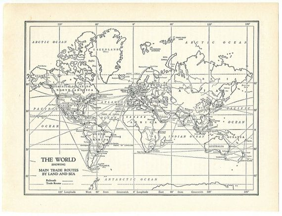 Vintage black and white map world map trade routes 1931 bookplate vintage black and white map world map trade by amykristineprints gumiabroncs Choice Image