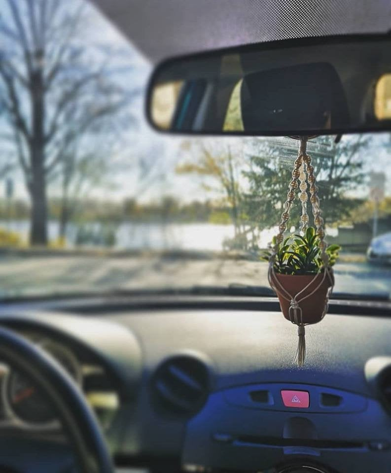 Rearview Mirror Macrame Mini Hanger With Pot And Plant For Car Rearview Mirror Charm Pendant Small Accessory For Cubicle Office In 2020 Rear View Mirror Charm Macrame Plant Hanger Plant Hanger