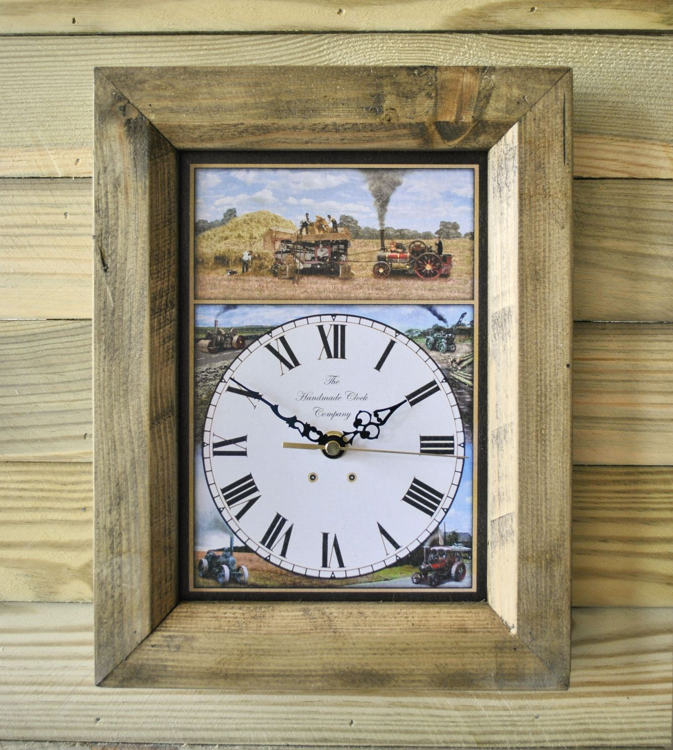 The Handmade Furniture Company Rustic Steam Threshing Handmade Wooden Wall  Clock, £19.99