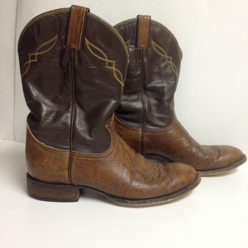 Mens Tony Lama 2023 Shrunken Shoulder Drk Brn Cowboy Roper Boots Size 10d Boots Roper Boots Leather Cowboy Boots