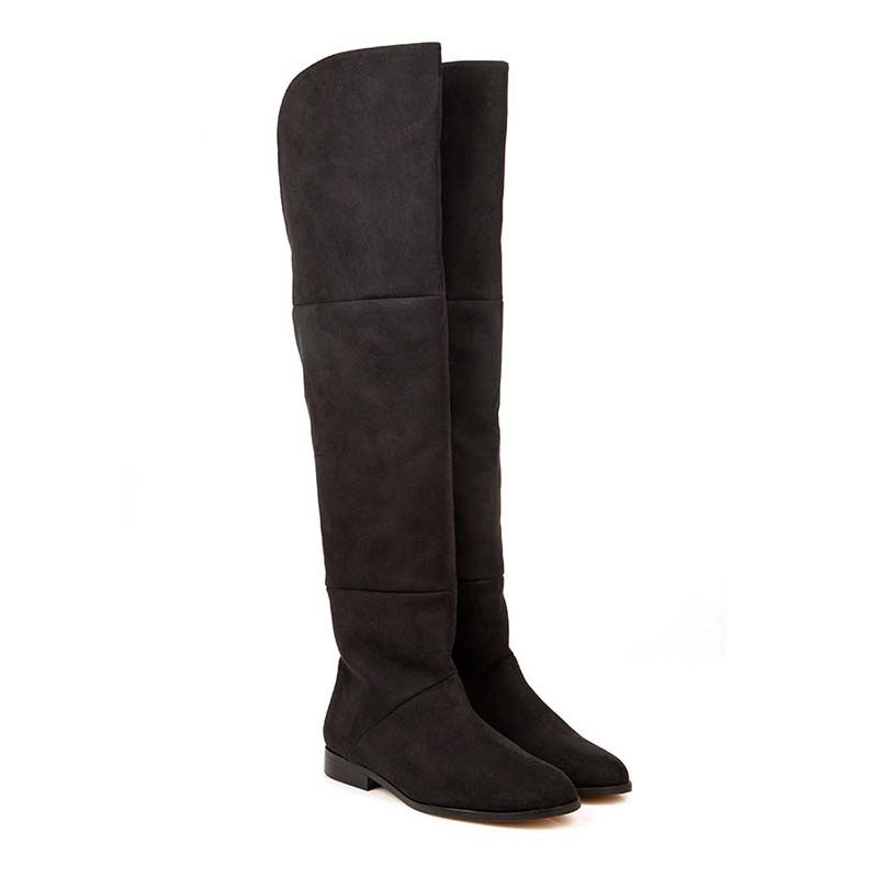 Beyond Skin Pixie Black Vegan Over the Knee Boot non leather ...