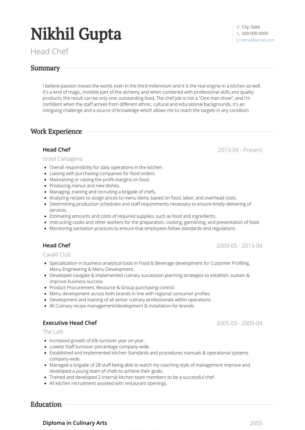Chef Resume Samples & Templates VisualCV