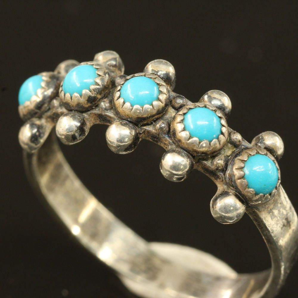 Vintage ZUNI BELL TRADING POST ~Petit Point Turquoise Sterling Silver Ring ~SZ 8 #BELLTRADINGPOST