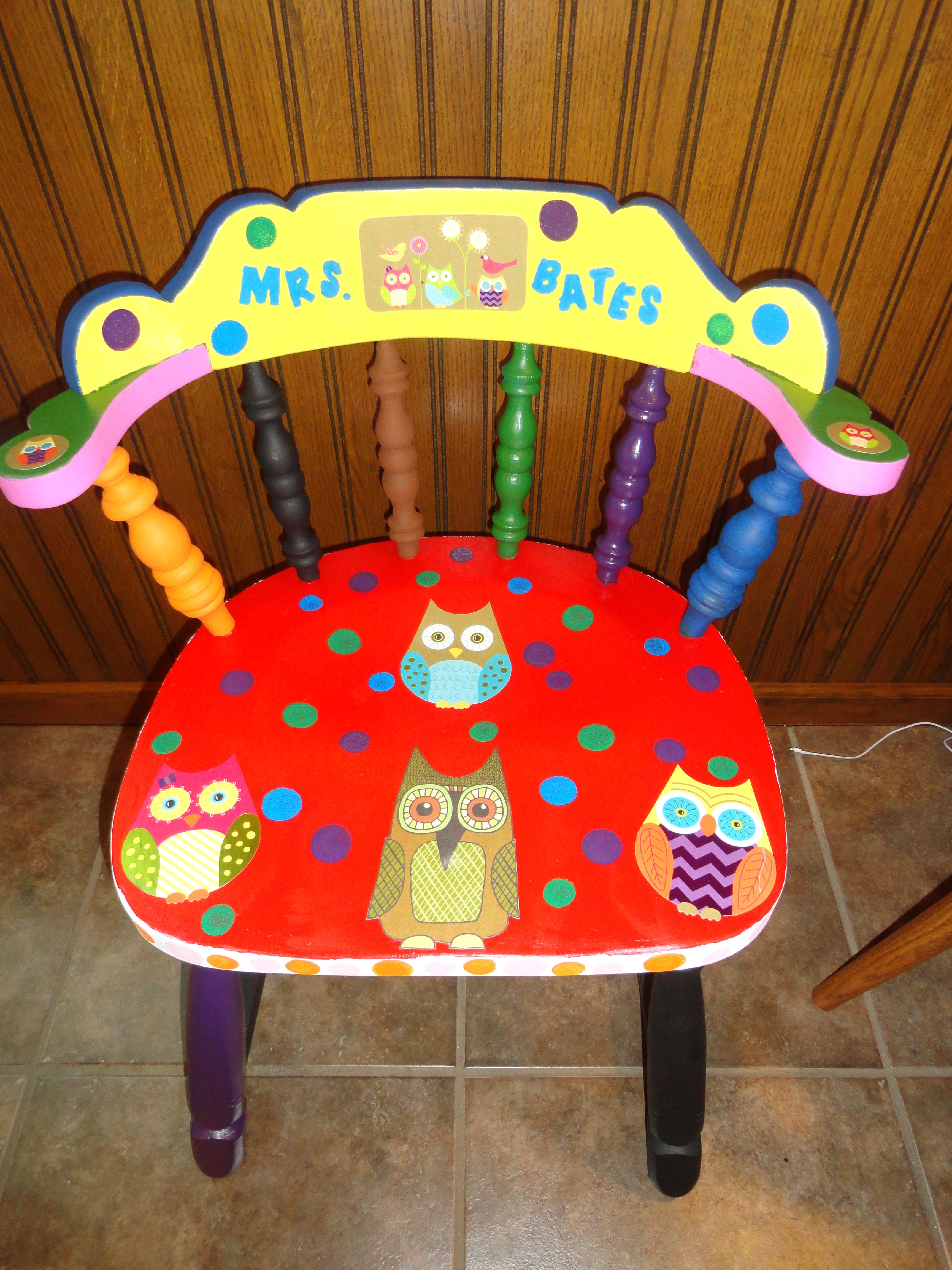 Painted And Modge Podge Chair For Elementary Classroom